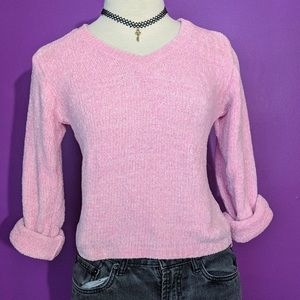 2/$25   Adorable pink vintage fuzzy knit sweater